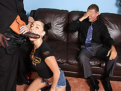 Chayse Evans gets plowed by big black cock with father looking on