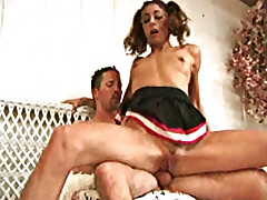 Young coed screams while being pounded