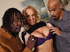 Hot blond fucks and sucks off two huge black dicks