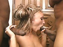 Tiny blond fucks and sucks two monster black dicks