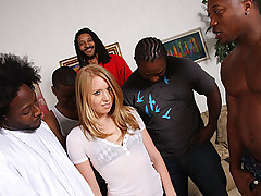 Blond skater fucks and sucks 5 huge black dicks