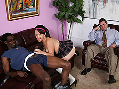Callie Dee shows no shame as she makes love to big black cock with pops in the room