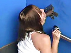 Blond interracial gloryhole blowjob and cumeating