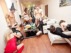 Booze party with costume orgy