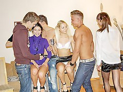 Horny students enjoy hardcore group sex
