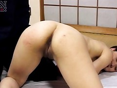 Yuki Mori Asian with butt up in the air has asshole shown by hunk