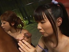 Saki Asaoka sucks a cock next to her friend who is also sucking another cock