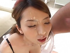 Yui Hatano takes on four hard cocks and has them cum on her face