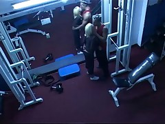 Hardcore action in the gym filmed by security cam