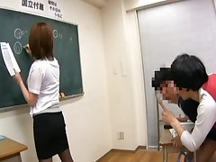 Rio Hamasaki Lovely Asian teacher with nice tits plays around with her students