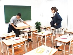 Runna Sakai Schoolgirl shows panties then hairy cunt on a desk