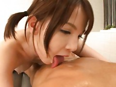 Ryo Tsujimoto Asian licks man body and rubs him with her boobs
