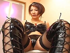 Minori Hatsune Hot Asian dominatrix enjoys cock with her sexy hands