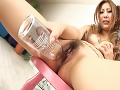 Shiho Kanou lovely Japanese call girl  masturbates pussy with glass bottle