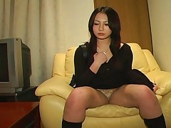 Riho Matsuoka takes her boyfriends cock in her hand and strokes