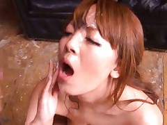 Hitomi Tanaka big titty girl performs oral sex for bukkake video