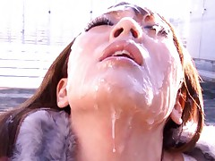 Hitomi Tanaka busty girl covered in cum while nude in public
