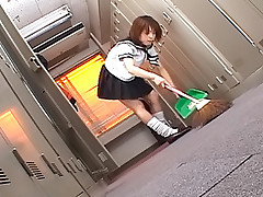 Slutty Asian school girl sucks all three hard cocks in the supply closet