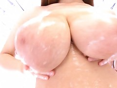 Hitomi Tanaka Asian gets sex toys on her cunt and huge melons