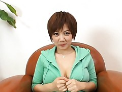 Meguru Kosaka's coat is removed to show her tits which get teased