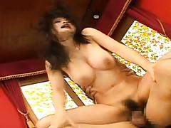 Yuu Haruka bouncing on his cock during this big boob sex video
