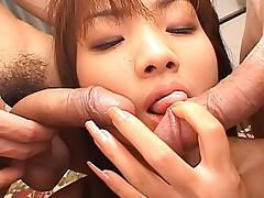 Asian slut gets a hard cock in her vagina and one in her anus at the same time