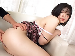 Rina Asaka sexy Asian slut gets hairy pussy squeezed and cum runs out after sex