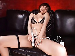 Yuria Satomi Asian has orgasm from vibrator on clit over thong