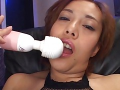 Jun Rukawa shows her shaved pussy as she masturbates