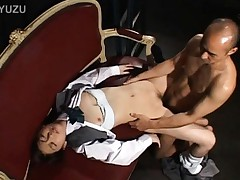 Japanese AV Model in uniform has hard boner fucking her mouth