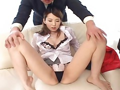Yui Hatano strips out of her blouse and miniskirt to show her tit