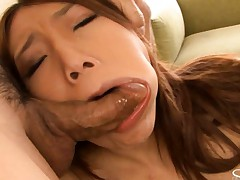 Aoi Yuuki sucking two cocks before getting her ass fucked