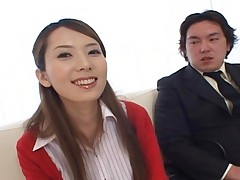 Yui Hatano rubbing her friends cock while wearing a miniskirt