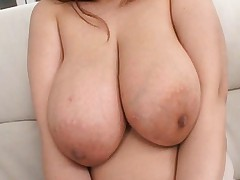 Japanese AV Model is fucked and has immense boobs pressed by hunk