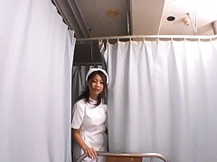 Anna Kousaka sexy nurse in pantyhose kisses a patient