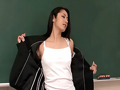 Kyoka Ishiguro Asian student gives her teacher a blowjob in class room