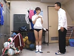 Akari Yaguchi gets on her knees to let the stud play with her ass