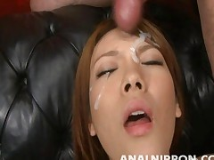 Rei gets a messy facial during a gangbang sex video