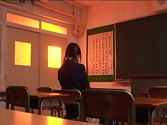 Rei Aoi Asian teen gets a hot hug from her older teacher in the class
