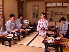 An Mashiro Asian is exposed at tea time in front of men by lady