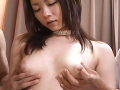 Miku Masaki gets her titties squeezed hard by several men in this gangbang