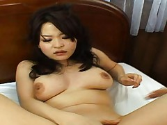 Yuu Haruka busty babe makes herself cum before sucking his cock