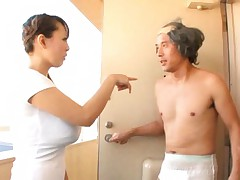 Hitomi Tanaka Asian gets cum all over her face and huge tits
