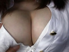 Momoka Nishina Asian in office outfit is caressed on her curves