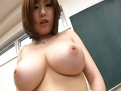 Rio Hamasaki Asian teacher exposes huge boobs and hairy pussy in class