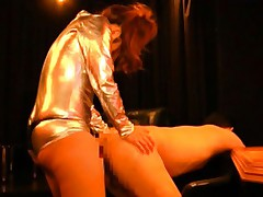 Chiharu Nakasaki in golden outfit fucks man asshole with strip on