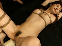 Nei Nanami Asian doll tied up getting large internal flushing