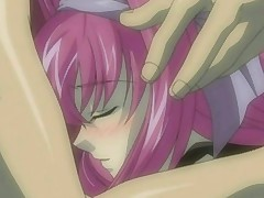 Pink haired anime schoolgirl lets her boyfriend squeeze her tits