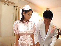 Yukari Iida Asian in nurse pink uniform has mouth examined by doc