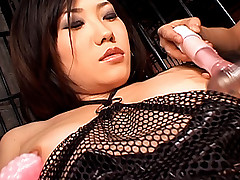 Asian slut has a huge toy she fucks her pussy with when her guy is there